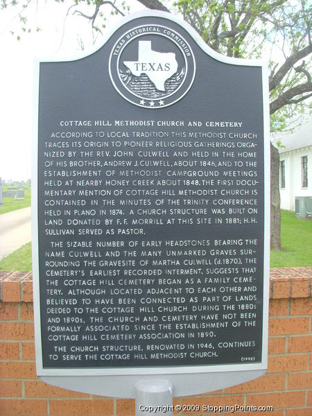 Cottage Hill Methodist Church and Cemetery Historical Marker