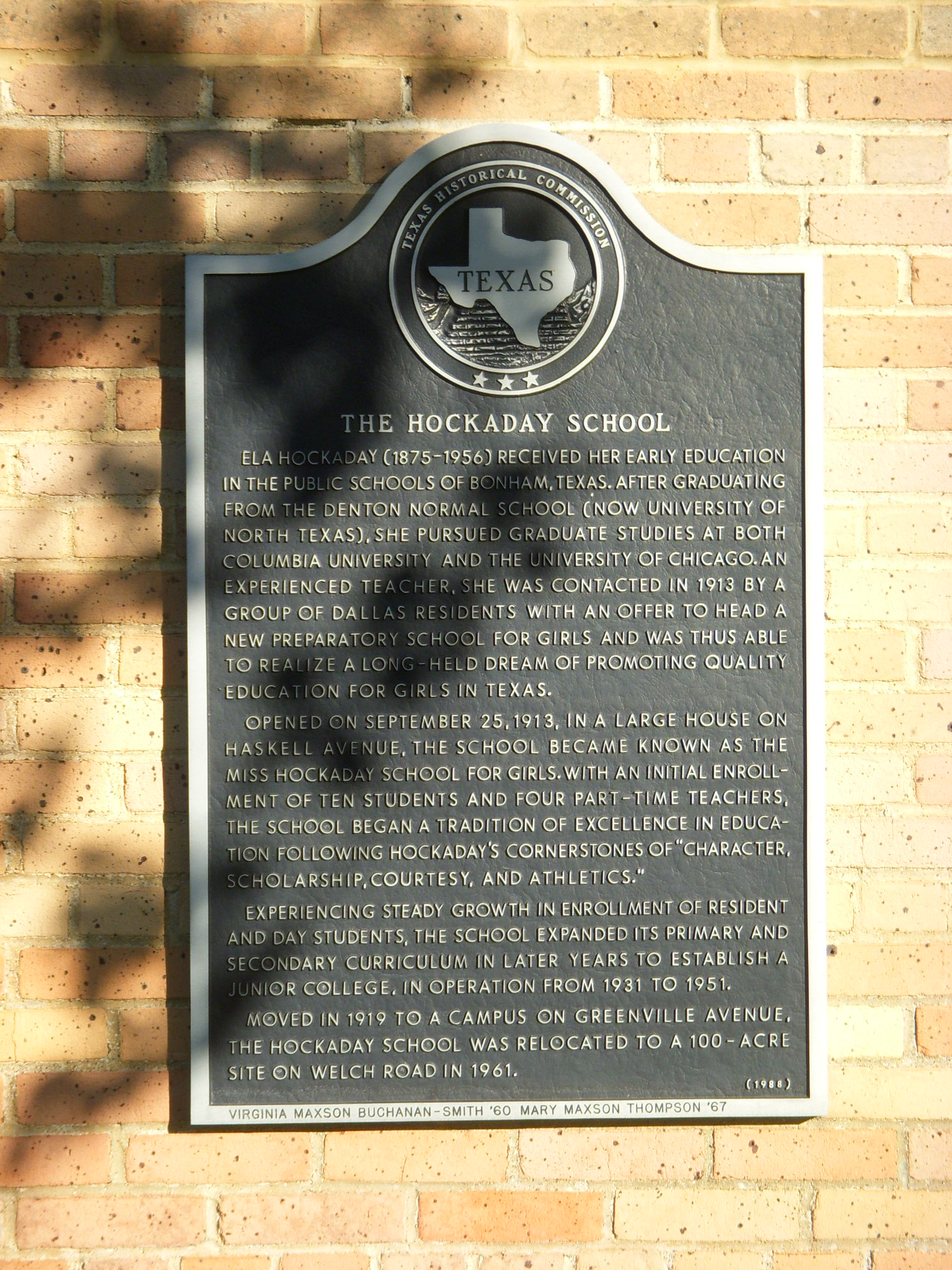 Hockaday School Historical Marker