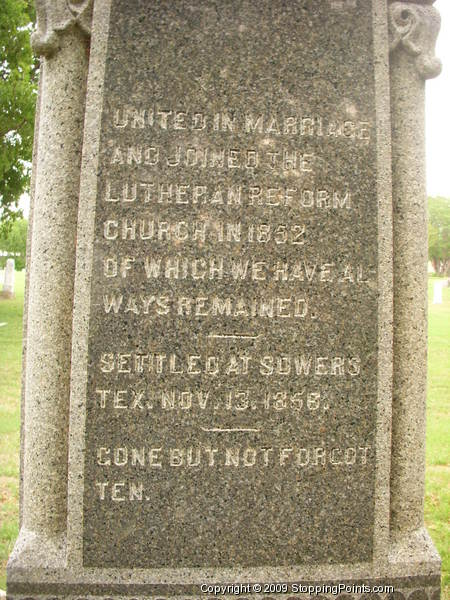Sowers Monument Text