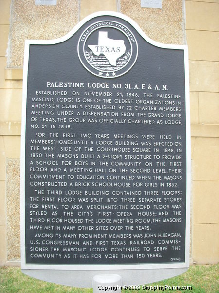 Palestine Lodge Historical Marker