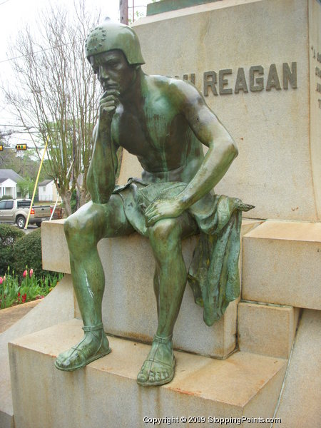 Detail of John H. Reagan historical monument.