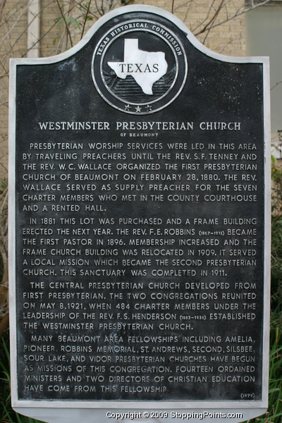 Westminster Presbyterian Church Historical Marker