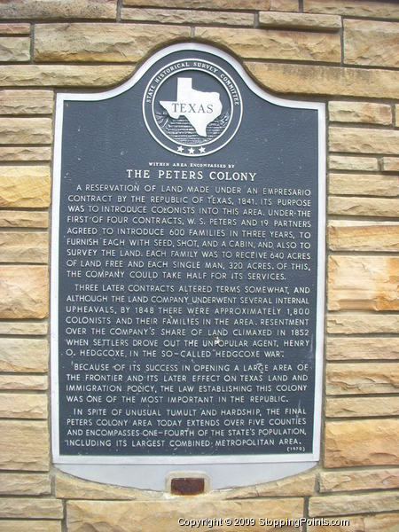 Peters Colony Historical Marker